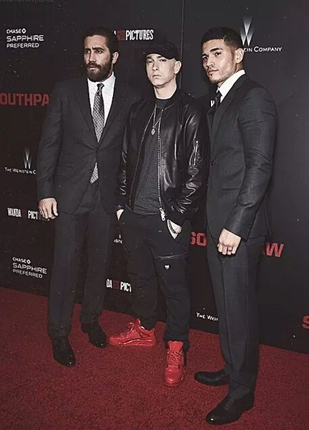 Eminem, Jake Gyllenhaal & Miguel Gomez Southpaw in New York July 21, 2015