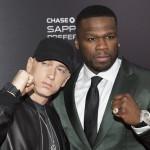 """Эминем и Кёртис '50 Cent' Джексон на премьере фильма """"Левша"""" в Нью-Йорке, 21 июля 2015"""