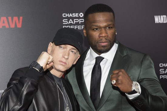 Eminem and Curtis '50 Cent' Jackson attend the premiere of Southpaw in New York July 21, 2015