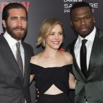 Jake Gyllenhaal, Rachel McAdams and Curtis '50 Cent' Jackson attend the premiere of Southpaw in New York July 21, 2015
