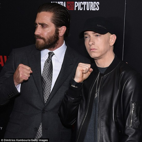 Jake Gyllenhaal and Eminem Southpaw in New York July 21, 2015