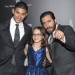 Miguel Gomez, Oona Laurence and Jake Gyllenhaal attend the premiere of Southpaw in New York July 21, 2015