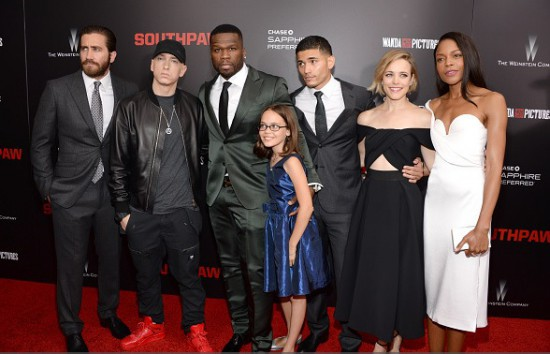 Jake, Eminem, 50 Cent, Laurence, Miguel Gomez (who plays Miguel Escobar), Rachel, and Naomie