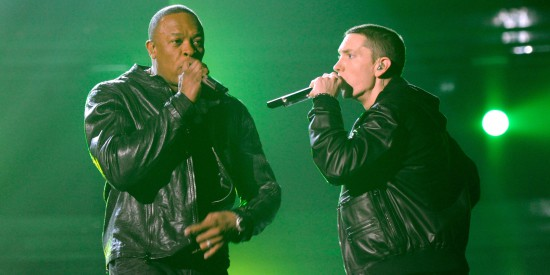 Dr Dre and Eminem perform onstage during The 53rd Annual GRAMMY Awards held at Staples Center on February 13, 2011 in Los Angeles, California.