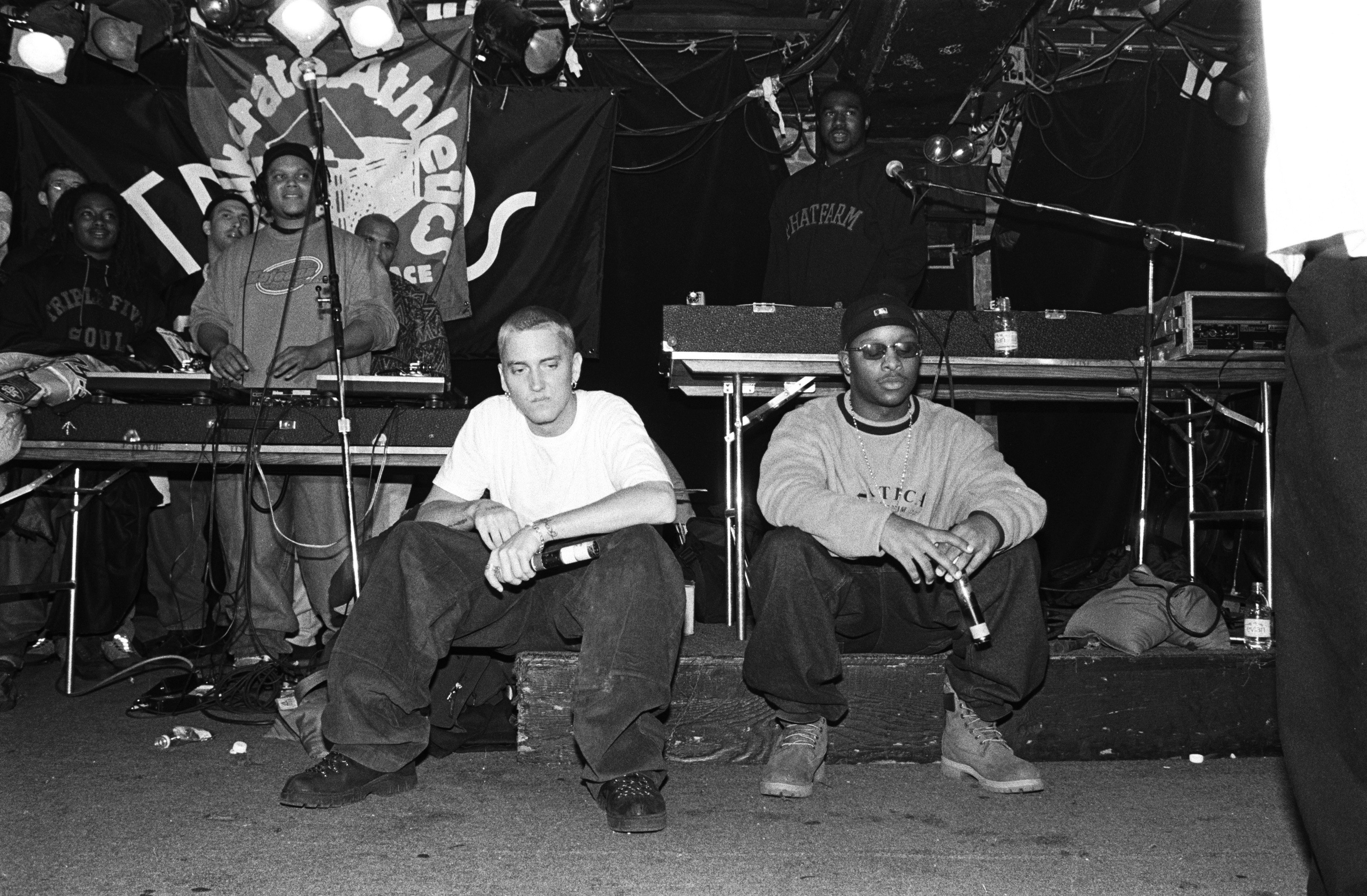 NEW YORK - MARCH 1999: Rappers Eminem, left, and Royce Da 5'9