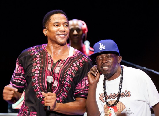 LOS ANGELES, CA - AUGUST 17:  Phife Dawg (R) and Q-Tip of A Tribe Called Quest perform at Univision Radio's H2O music festival at Los Angeles state historic park on August 17, 2013 in Los Angeles, California.  (Photo by Gabriel Olsen/Getty Images)