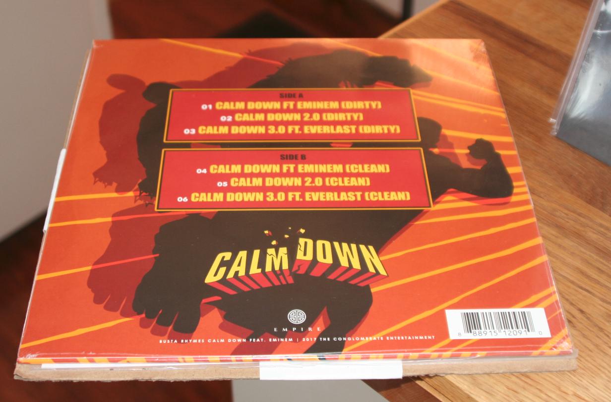 Спустя почти три года сингл «Calm Down» от Busta Rhymes'а и Eminem'а вышел на виниле!