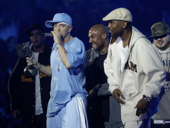 ROME - NOVEMBER 18: Eminem and D12 accept the award for best Hip-Hop performs during the MTV Europe Music Awards 2004 at Tor di Valle November 18, 2004 in Rome, Italy. (Photo by Getty Images/Getty Images)