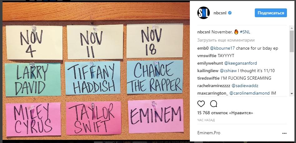 18 ноября Eminem возвращается появится в эфире передачи «Saturday Night Live» на канале NBC