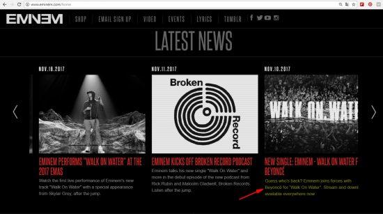 Если вы откроете сайт Эминема в Веб-Архиве Интернета, то увидите, что фраза удалена. Но это не значит, что «Walk on Water» перестал быть синглом с альбома