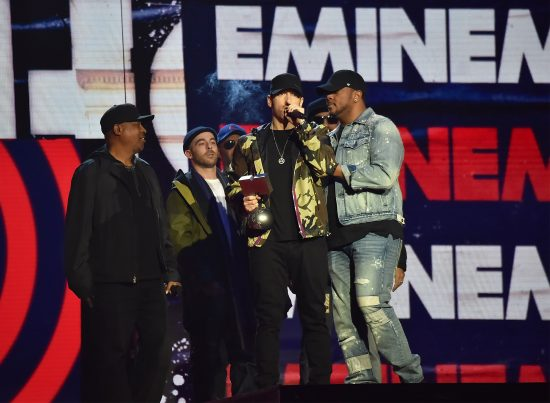 LONDON, ENGLAND - NOVEMBER 12:  Eminem speaks on stage during the MTV EMAs 2017 held at The SSE Arena, Wembley on November 12, 2017 in London, England.  (Photo by Kevin Mazur/WireImage)