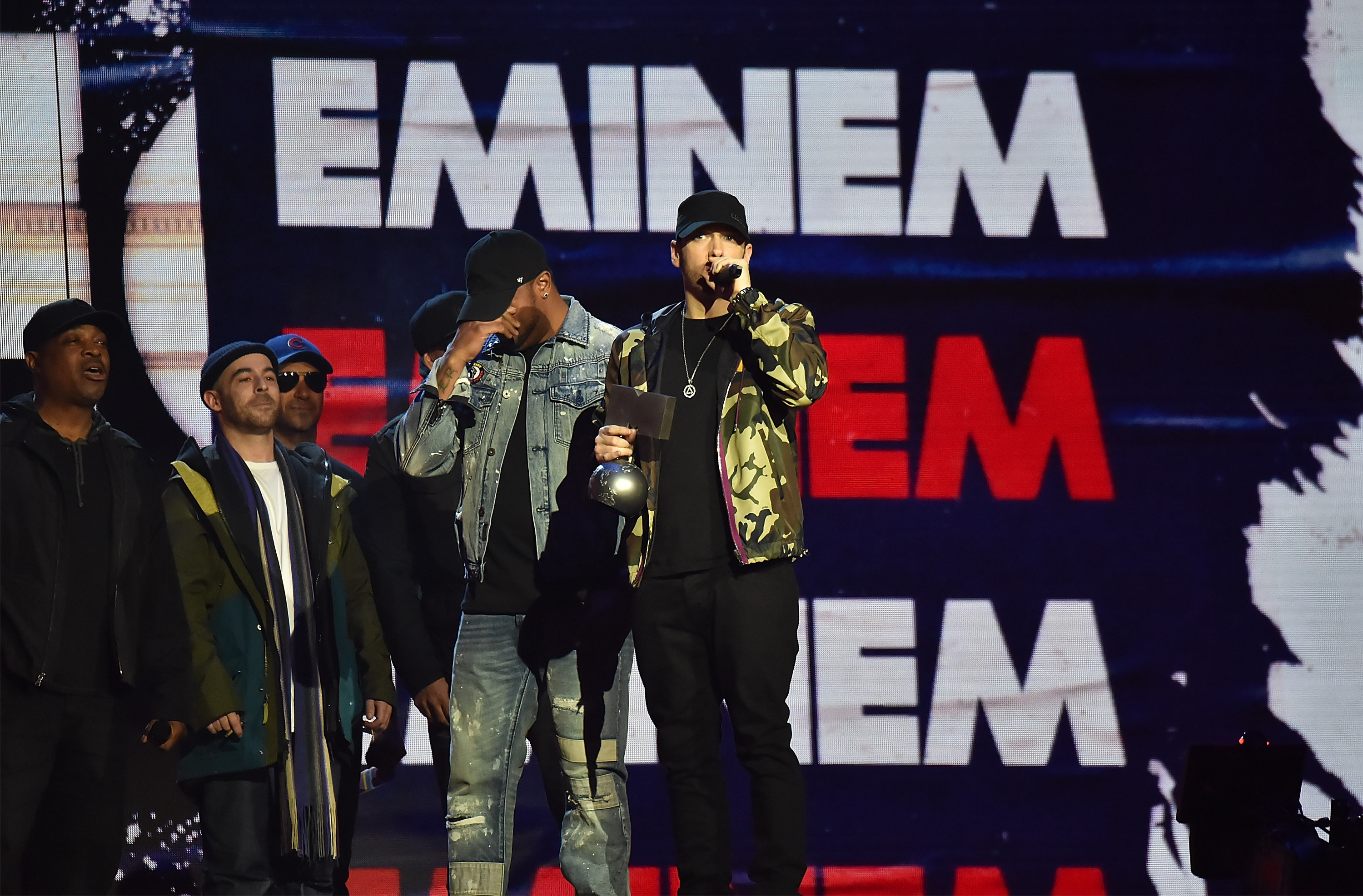 LONDON, ENGLAND - NOVEMBER 12: Eminem accepts award on stage during the MTV EMAs 2017 held at The SSE Arena, Wembley on November 12, 2017 in London, England. (Photo by Kevin Mazur/WireImage)