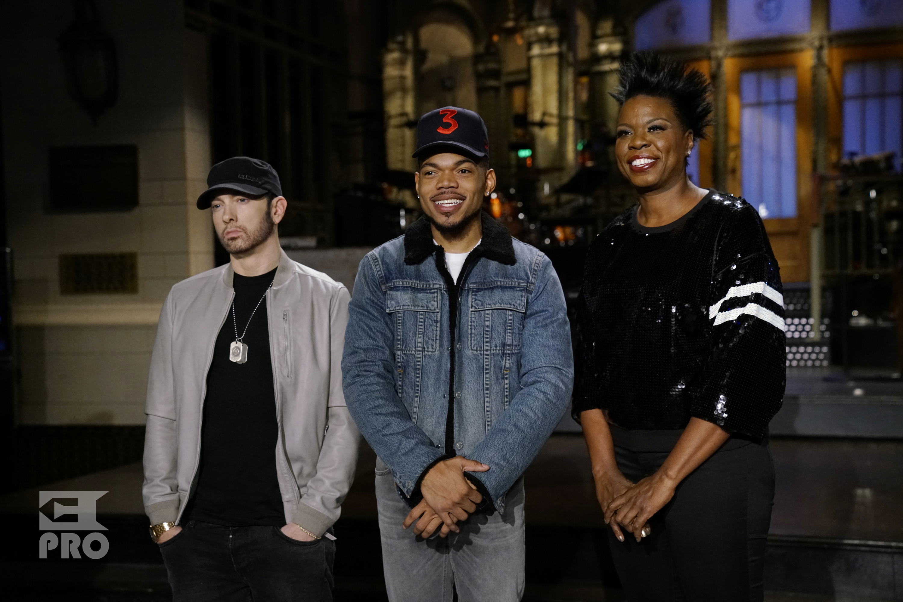 SATURDAY NIGHT LIVE -- Episode 1731 -- Pictured: (l-r) Musical Guest Eminem with Host Chance the Rapper and Leslie Jones during a promo in 30 Rockefeller Plaza -- (Photo by: Rosalind O'Connor/NBC/NBCU Photo Bank via Getty Images)