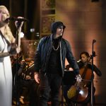 SATURDAY NIGHT LIVE -- Episode 1731 -- Pictured: Eminem performs a Medley with Skylar Grey in Studio 8H on Saturday, November 18, 2017 -- (Photo by: Will Heath/NBC/NBCU Photo Bank via Getty Images)