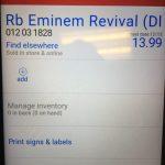 24 ноября сотрудник одного из магазинов Target увидел на полке пустое место для некоего компакт диска под названием «RB Eminem Revival (DLX) CD». Когда он отсканировал штрих-код, то увидел сообщение о том, что «Вы не можете продать этот товар до 12/15».