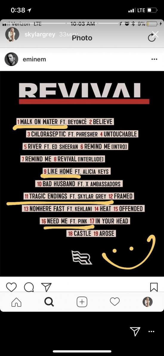 4 трека на альбоме «Revival» созданы при участии Skylar Grey