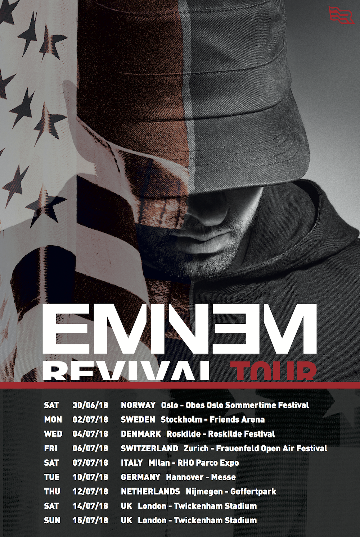 Eminem отправится в европейский тур в поддержку альбома «Revival»