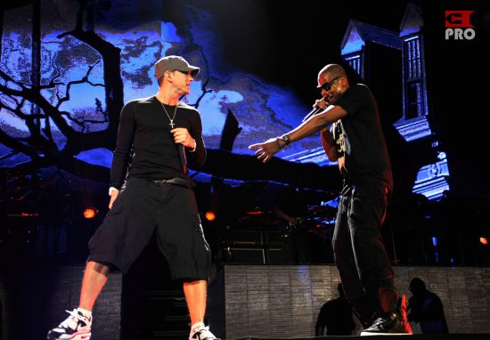 (EXCLUSIVE, Premium Rates Apply) (Exclusive Coverage) Eminem and Jay-Z perform at Yankee Stadium on September 13, 2010 in New York City.