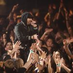 INGLEWOOD, CA - MARCH 11: Eminem performs onstage during the 2018 iHeartRadio Music Awards which broadcasted live on TBS, TNT, and truTV at The Forum on March 11, 2018 in Inglewood, California. (Photo by Rich Polk/Getty Images for iHeartMedia)