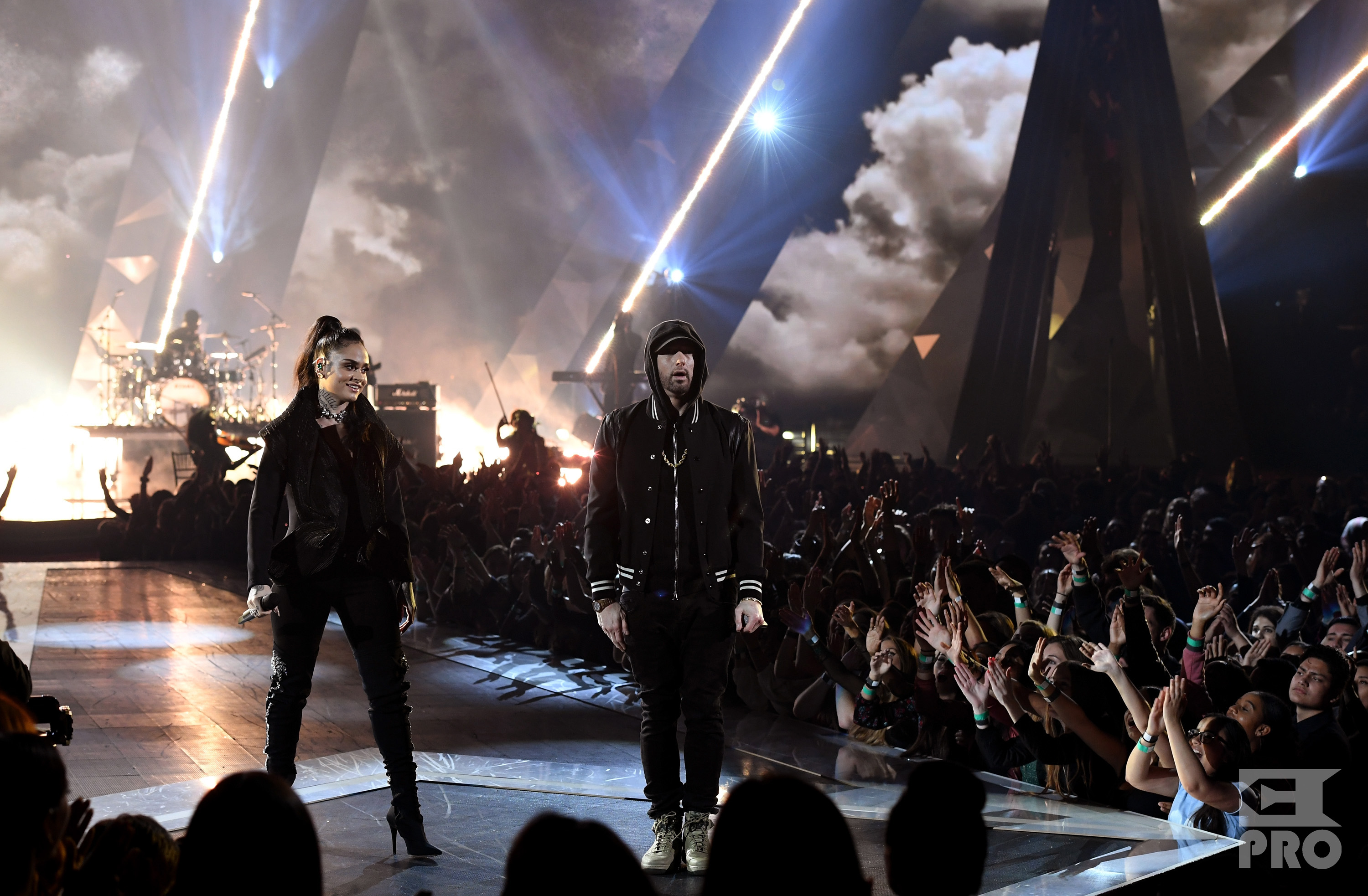 INGLEWOOD, CA - MARCH 11: Kehlani (L) and Eminem perform onstage during the 2018 iHeartRadio Music Awards which broadcasted live on TBS, TNT, and truTV at The Forum on March 11, 2018 in Inglewood, California. (Photo by Kevin Winter/Getty Images for iHeartMedia)