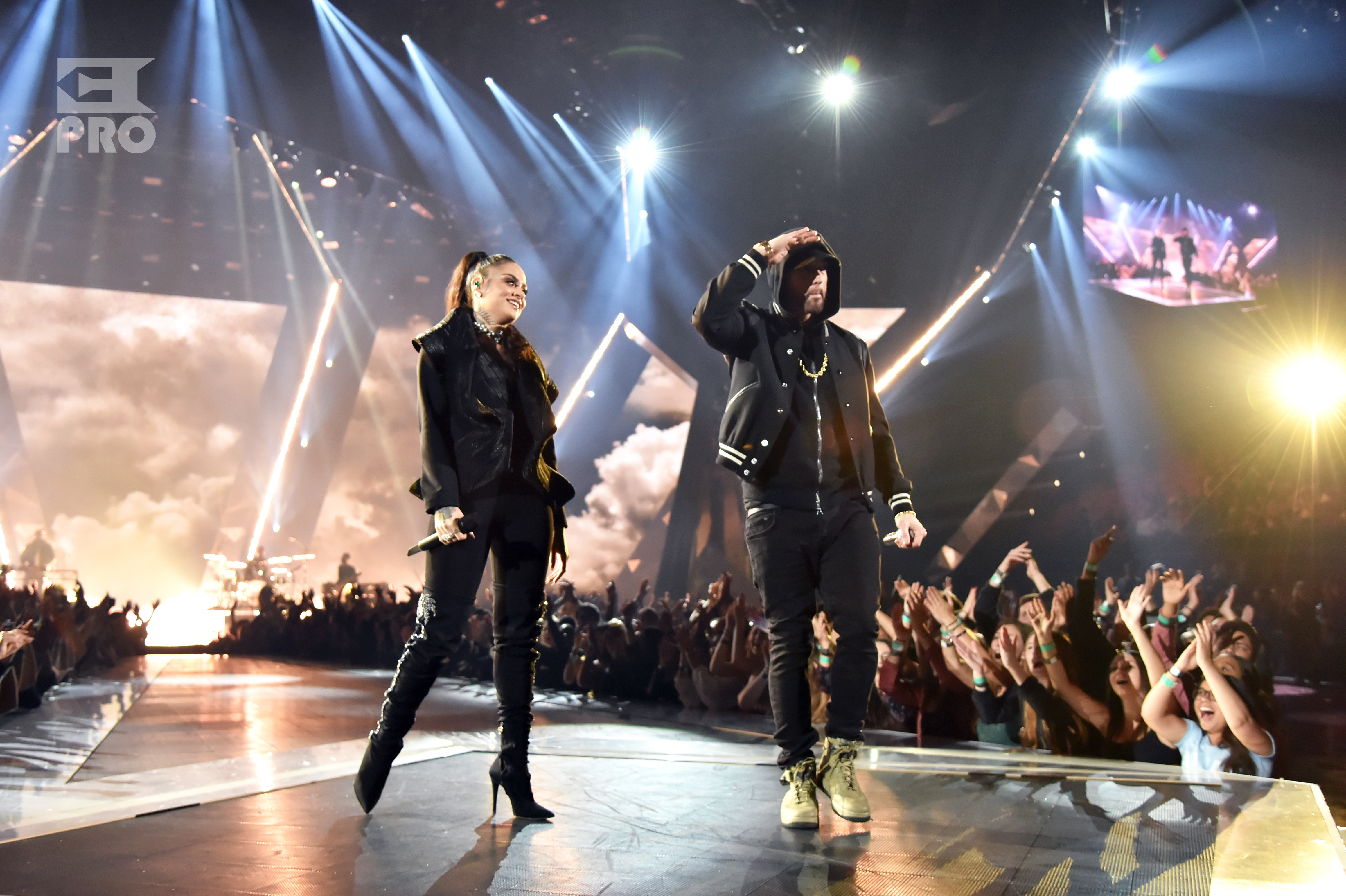 INGLEWOOD, CA - MARCH 11: Kehlani (L) and Eminem perform onstage during the 2018 iHeartRadio Music Awards which broadcasted live on TBS, TNT, and truTV at The Forum on March 11, 2018 in Inglewood, California. (Photo by Kevin Mazur/Getty Images for iHeartMedia)