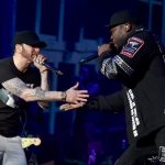 INDIO, CA - APRIL 15: Eminem and 50 Cent perform onstage during the 2018 Coachella Valley Music and Arts Festival Weekend 1 at the Empire Polo Field on April 15, 2018 in Indio, California. (Photo by Kevin Mazur/Getty Images for Coachella)