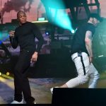 INDIO, CA - APRIL 15: Dr. Dre and Eminem perform onstage during the 2018 Coachella Valley Music and Arts Festival Weekend 1 at the Empire Polo Field on April 15, 2018 in Indio, California. (Photo by Kevin Mazur/Getty Images for Coachella)