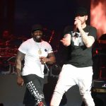 "INDIO, CA - APRIL 15: Curtis ""50 Cent"" Jackson (L) and Eminem perform onstage during the 2018 Coachella Valley Music and Arts Festival Weekend 1 at the Empire Polo Field on April 15, 2018 in Indio, California. (Photo by Kevin Winter/Getty Images for Coachella)"