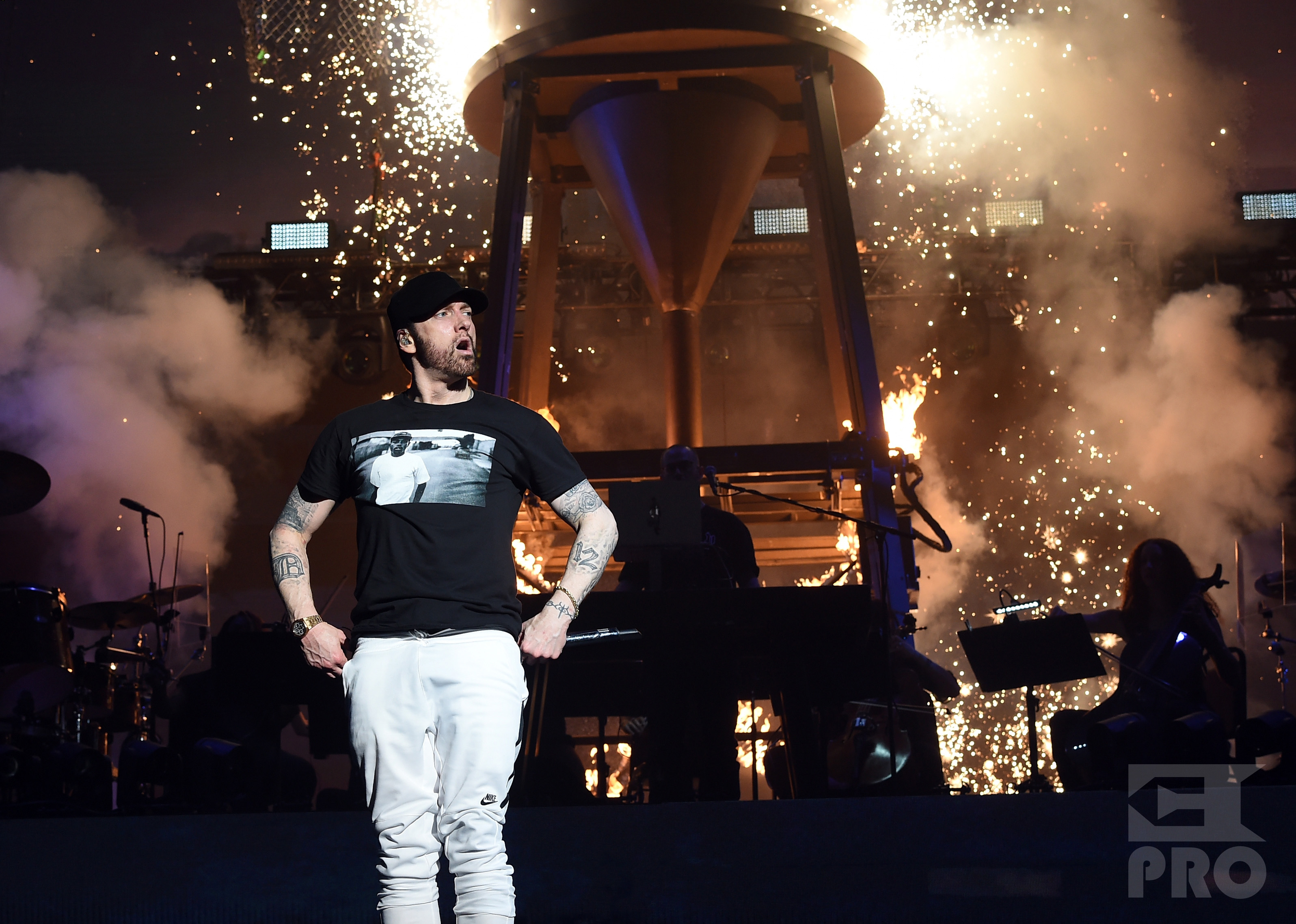 INDIO, CA - APRIL 15: Eminem performs onstage during the 2018 Coachella Valley Music and Arts Festival Weekend 1 at the Empire Polo Field on April 15, 2018 in Indio, California. (Photo by Christopher Polk/Getty Images for Coachella)