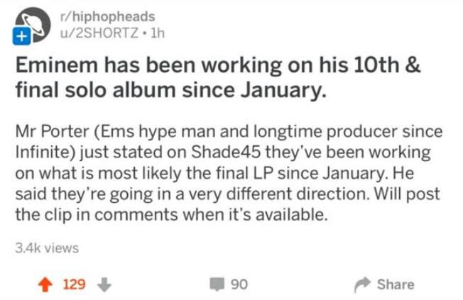 Слух касательно работы Эминема над десятым и «последним» студийным альбомом