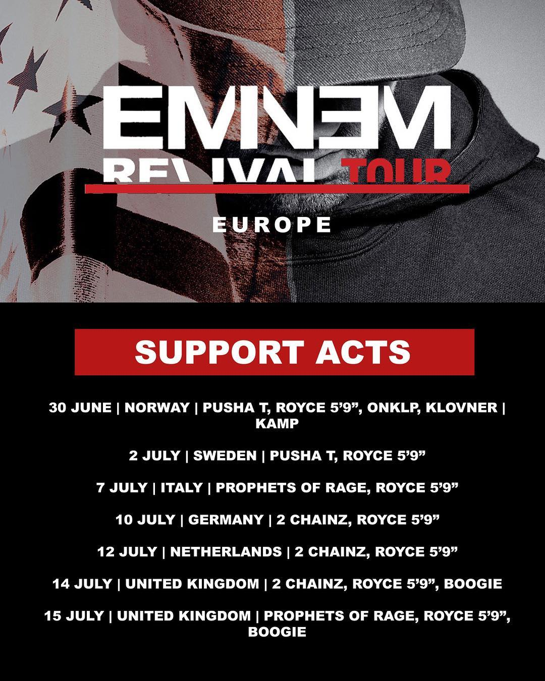 Eminem анонсировал полный список гостевых выступлений Revival Tour