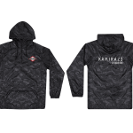 This is a pre-order and is expected to ship in 4-5 weeks. Exclusive and limited Kamikaze merchandise. Lightweight water resistant camo poncho in black. Multi-color patch on front left chest and white text printed on back.