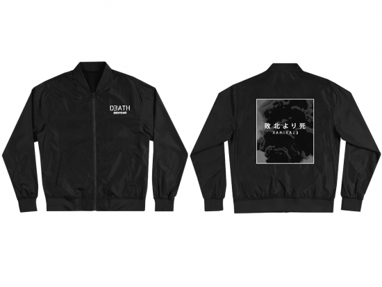 This is a pre-order and is expected to ship in 4-5 weeks.  Exclusive and limited Kamikaze merchandise.  Unisex lightweight bomber in black. White text printed on front left chest and gray scale image printed on back.