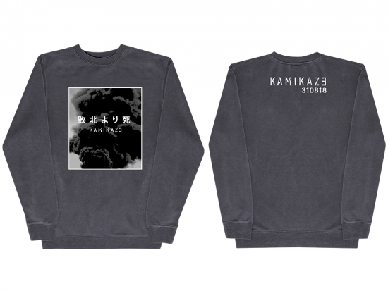 This is a pre-order and is expected to ship in 4-5 weeks.  Exclusive and limited Kamikaze merchandise.  Unisex midweight pigment dyed crew neck in Slate. Gray scale image printed on front and white text printed on back.