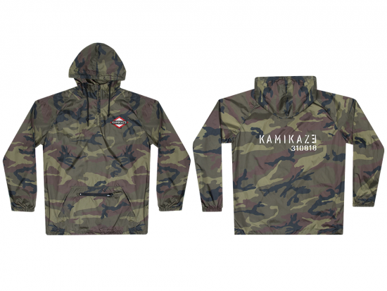 This is a pre-order and is expected to ship in 4-5 weeks.  Exclusive and limited Kamikaze merchandise.  Lightweight water resistant camo poncho in green. Multi-color patch on front left chest and white text printed on back.