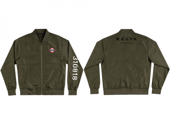 This is a pre-order and is expected to ship in 4-5 weeks.   Exclusive and limited Kamikaze merchandise.  Unisex lightweight bomber in military green. Multi-color patch on front left chest, white text printed on left arm, and black text printed on back.