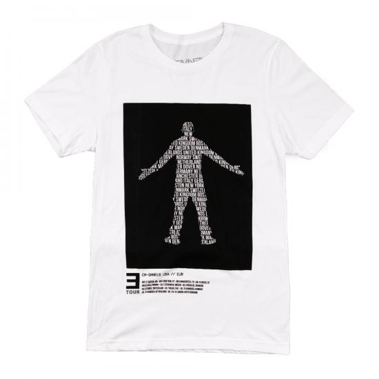 EM-SMMR18.USA-EUR RAP GOD T-SHIRT Белая футболка с текстовым логотипом «Rap God» и графиком тура внизу.