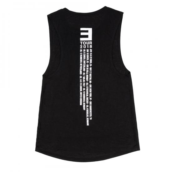 EM-SMMR18.USA-EUR WOMEN'S TANK TOP  Девушки, не упустите! Женский топик с логотипом тура Эминема 2018-го года и датами его концертов на спине. Женские вещи - большая редкость в его коллекциях