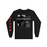 This is a pre-order and is expected to ship in 4-5 weeks. Exclusive and limited Kamikaze merchandise. Live photo shot by Jeremy Deputat. 100% cotton long sleeve t-shirt in black. Gray scale image printed on front with red text printed on right arm.