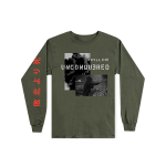 This is a pre-order and is expected to ship in 4-5 weeks. Exclusive and limited Kamikaze merchandise. Live photo shot by Jeremy Deputat. 100% cotton long sleeve t-shirt in green. Gray scale image printed on front with red text printed on right arm.
