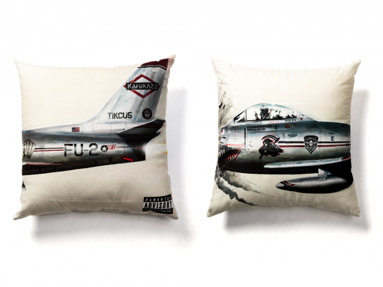 "This is a pre-order and is expected to ship in 4-5 weeks.  Exclusive and limited Kamikaze merchandise.  Official Kamikaze album art on the front back of a pillow. Includes 1 pillow.   Dimensions: 18"" x 18"" x 5"""