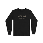 """This is a pre-order and is expected to ship in 4-5 weeks. Exclusive and limited Kamikaze merchandise. Morior Invictus (Latin for """"Death Before Defeat"""") printed in sandstone on front chest center with E logo printed on right wrist of a black long sleeve shirt."""