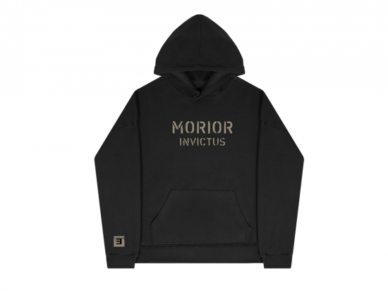 "This is a pre-order and is expected to ship in 4-5 weeks.   Exclusive and limited Kamikaze merchandise.  Morior Invictus (Latin for ""Death Before Defeat"") printed in sandstone on front chest center with E logo printed on right wrist of a black hoodie."