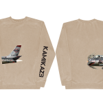 This is a pre-order and is expected to ship in 4-5 weeks. Exclusive and limited Kamikaze merchandise. Plane from the official Kamikaze album art wraps around the right side with Kamikaze printed in black on the left arm of a sandstone crew neck.