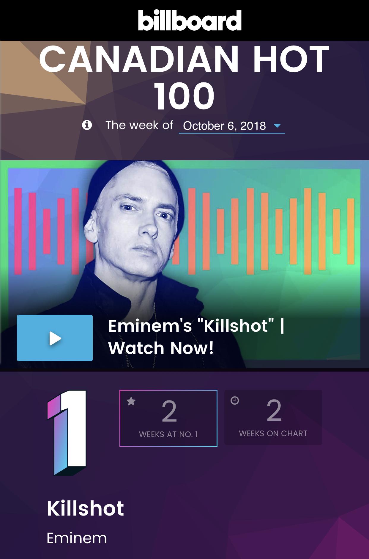 Что касается трека «Killshot», то он уже вторую неделю занимает первую строчку канадского стендового чарта Billboard Canadian Hot 100.