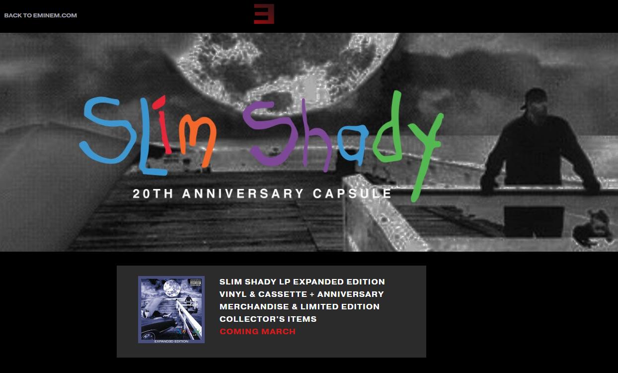 В любом случае, изменение дизайна говорит о том, что скоро нас ждёт что-то интересное. И этим интересным может стать задержавшийся и обещанный в марте мерчендайз в честь 20-чатилетнего юбилея альбома «The Slim Shady LP».