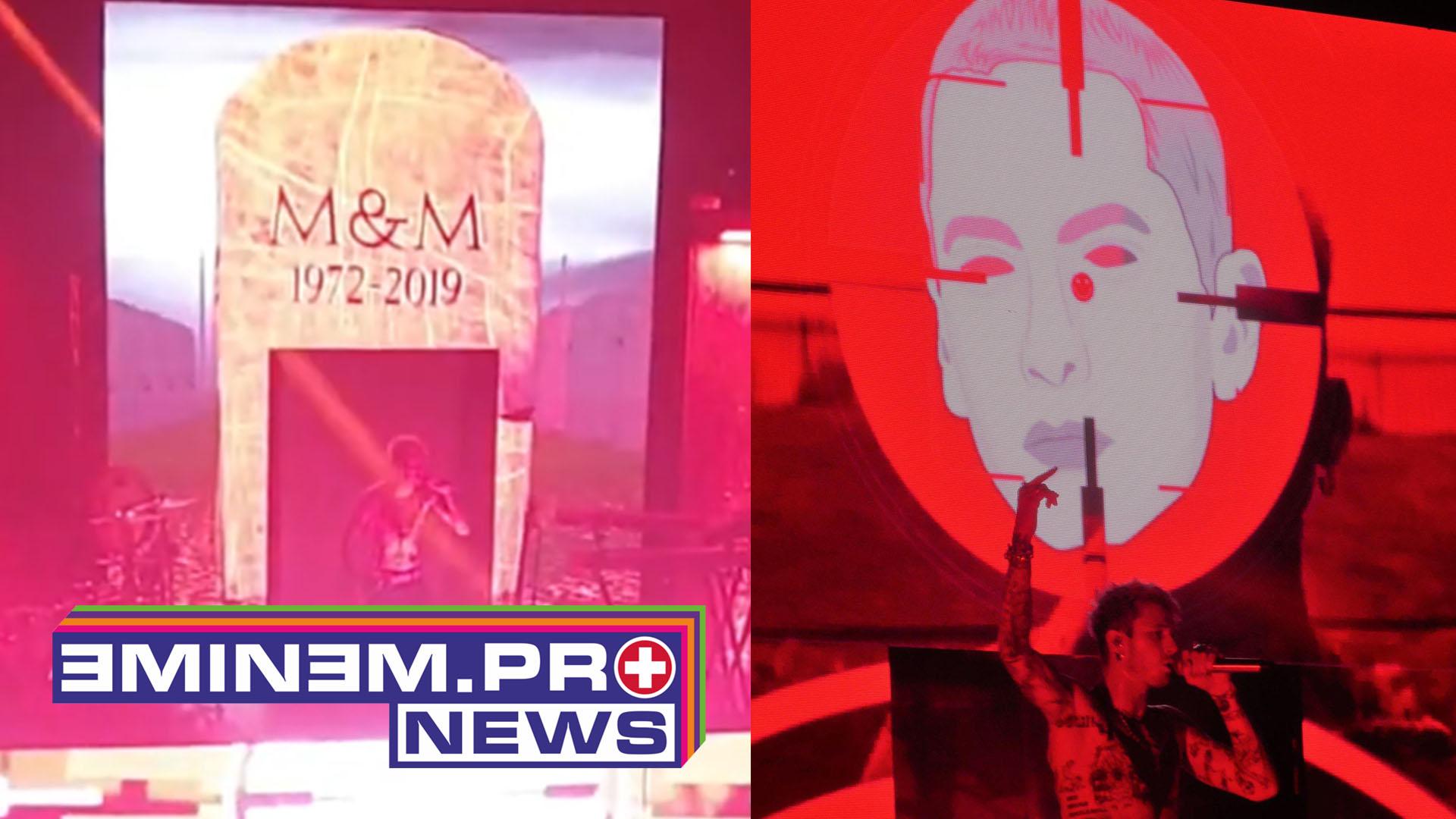 Во время исполнения дисс-трека «Rap Devil» в Лондоне MGK показывал надгробье Эминема на сцене