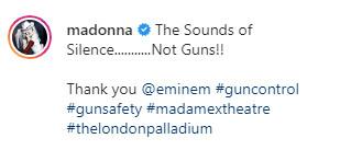 Мадонна поблагодарила Эминема за поддержку контроля над распространением оружия